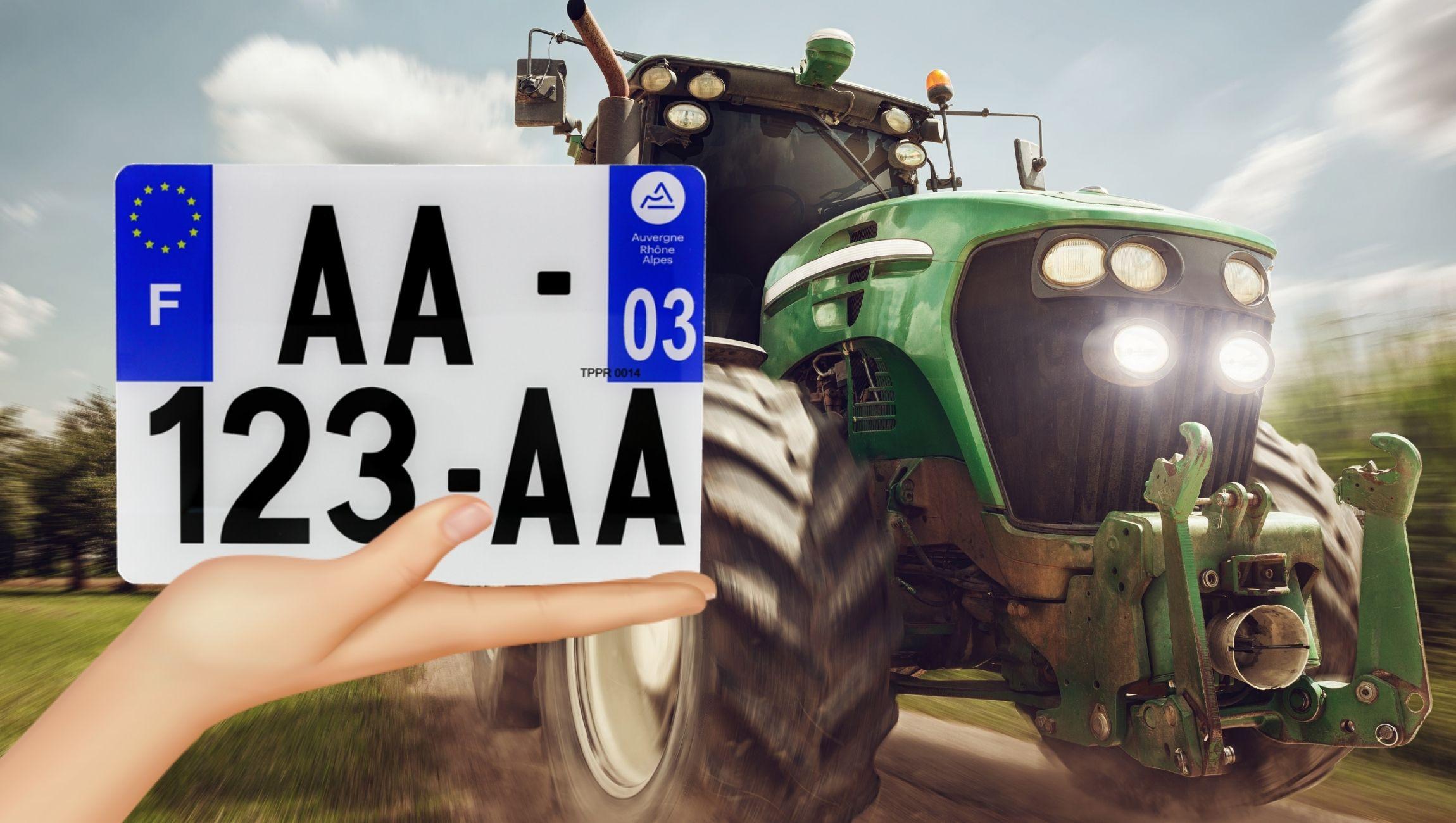 Plaque d'immatriculation tracteur