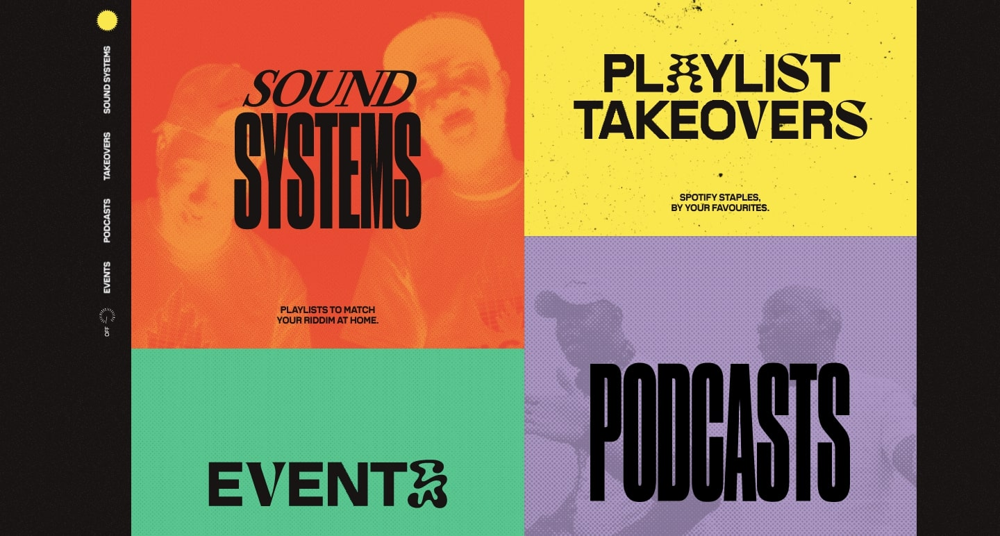 Spotify's Carnival promotion page pairs funky fonts with abstracted letterforms with bright colors and fun textures.