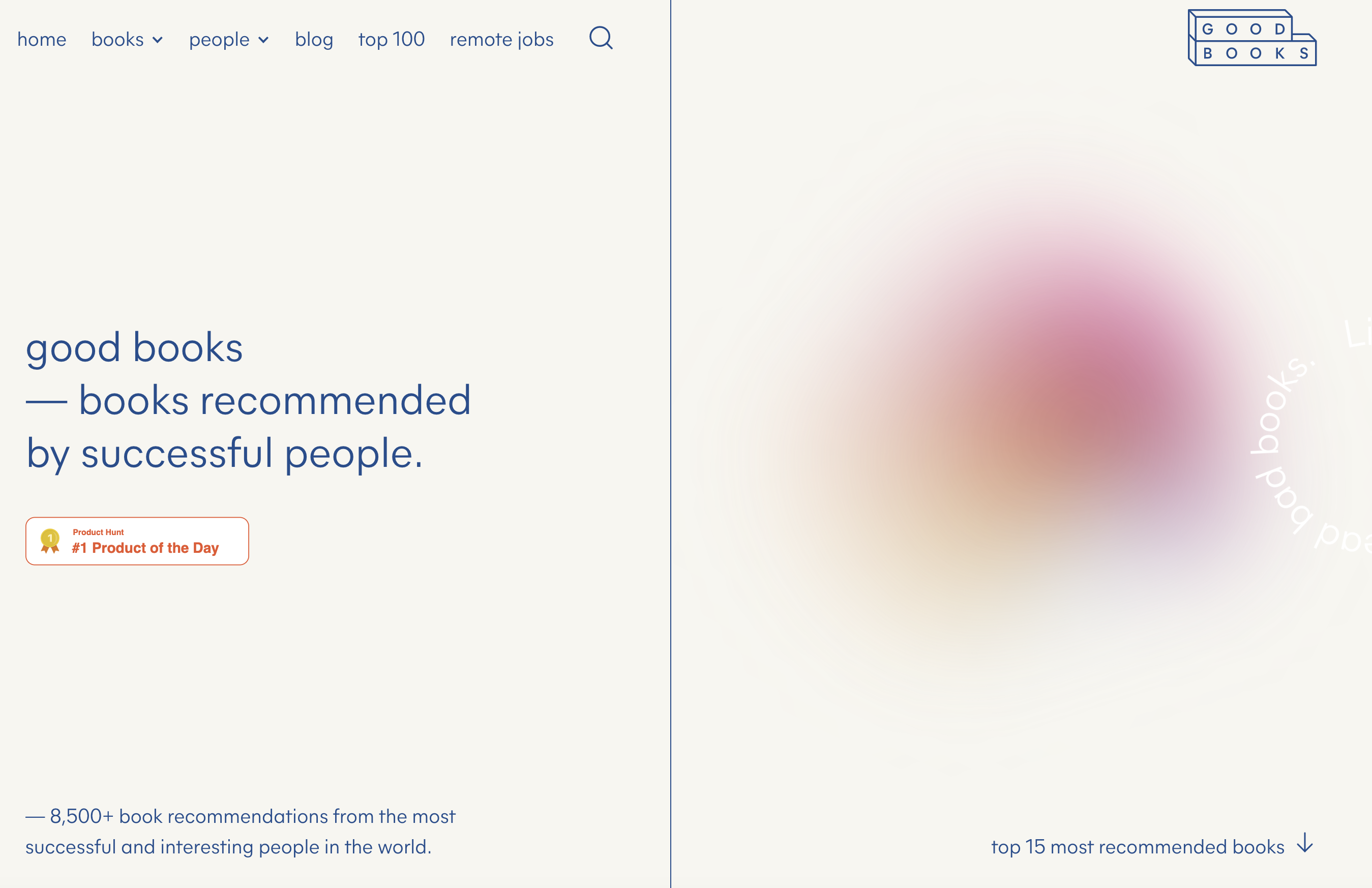 Goobooks.io's homepage hero uses a purple and yellow gaussian blur as a visual focal point.