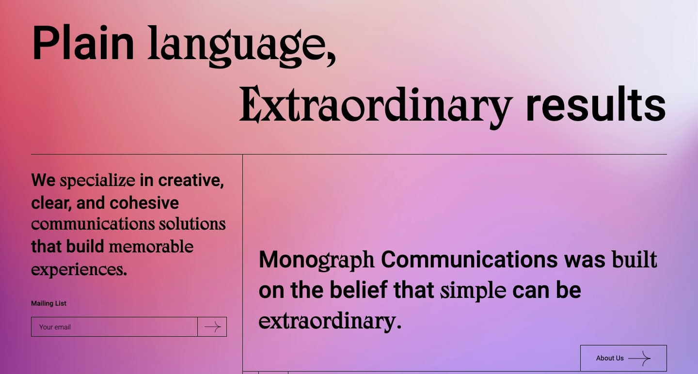 Monograph Communication's website pairs stylized typography with a full-page background gaussian blur.