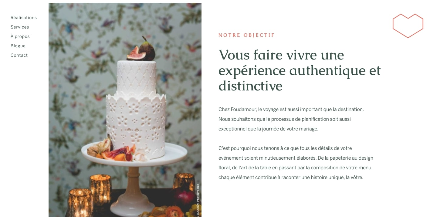 Foudamour's website features a large photo of a cake, reminiscent of a magazine layout.