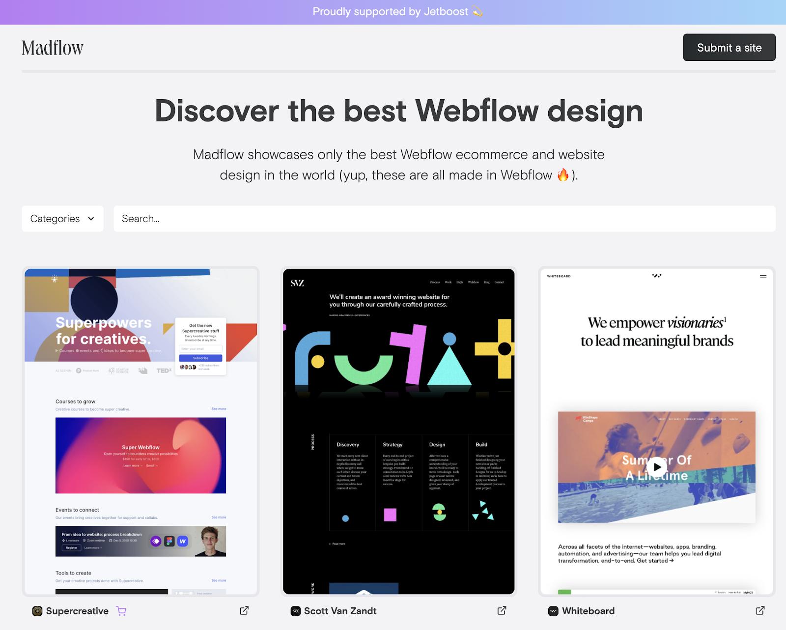 Screenshot of Madflow's homepage