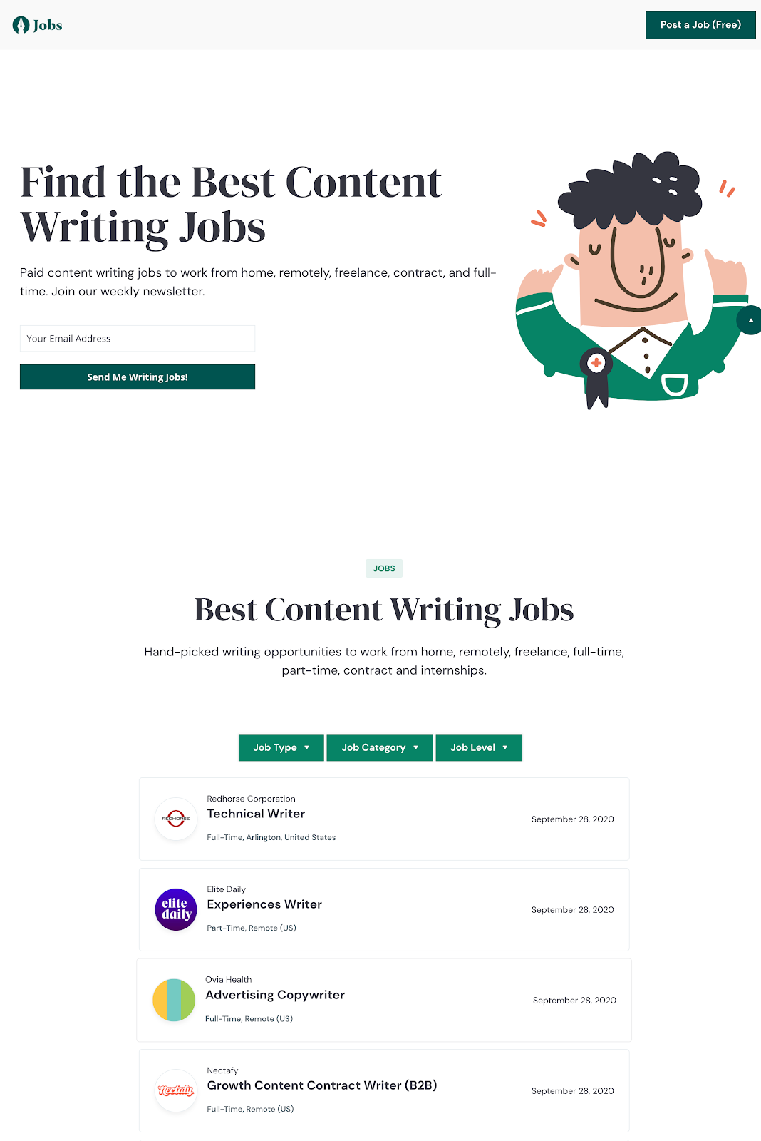 content writing jobs homepage