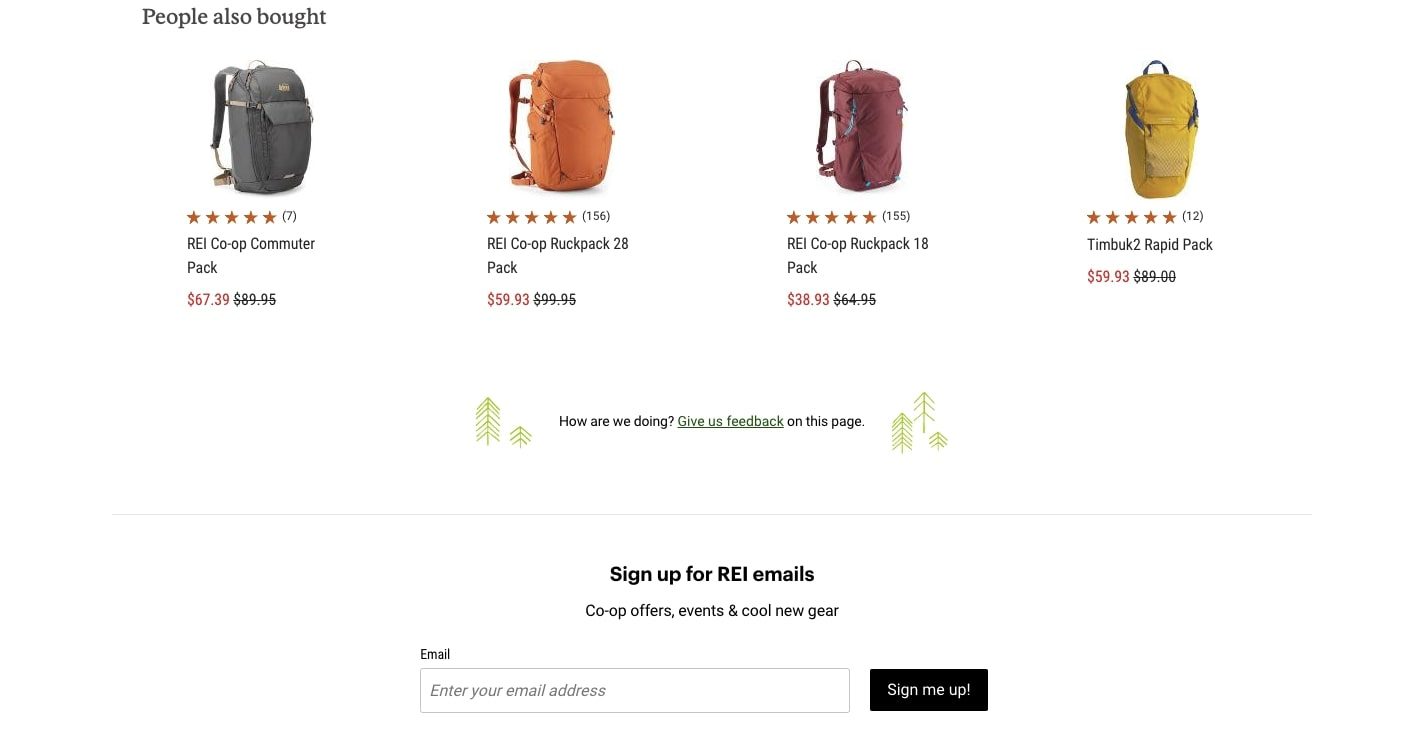 REI's product page