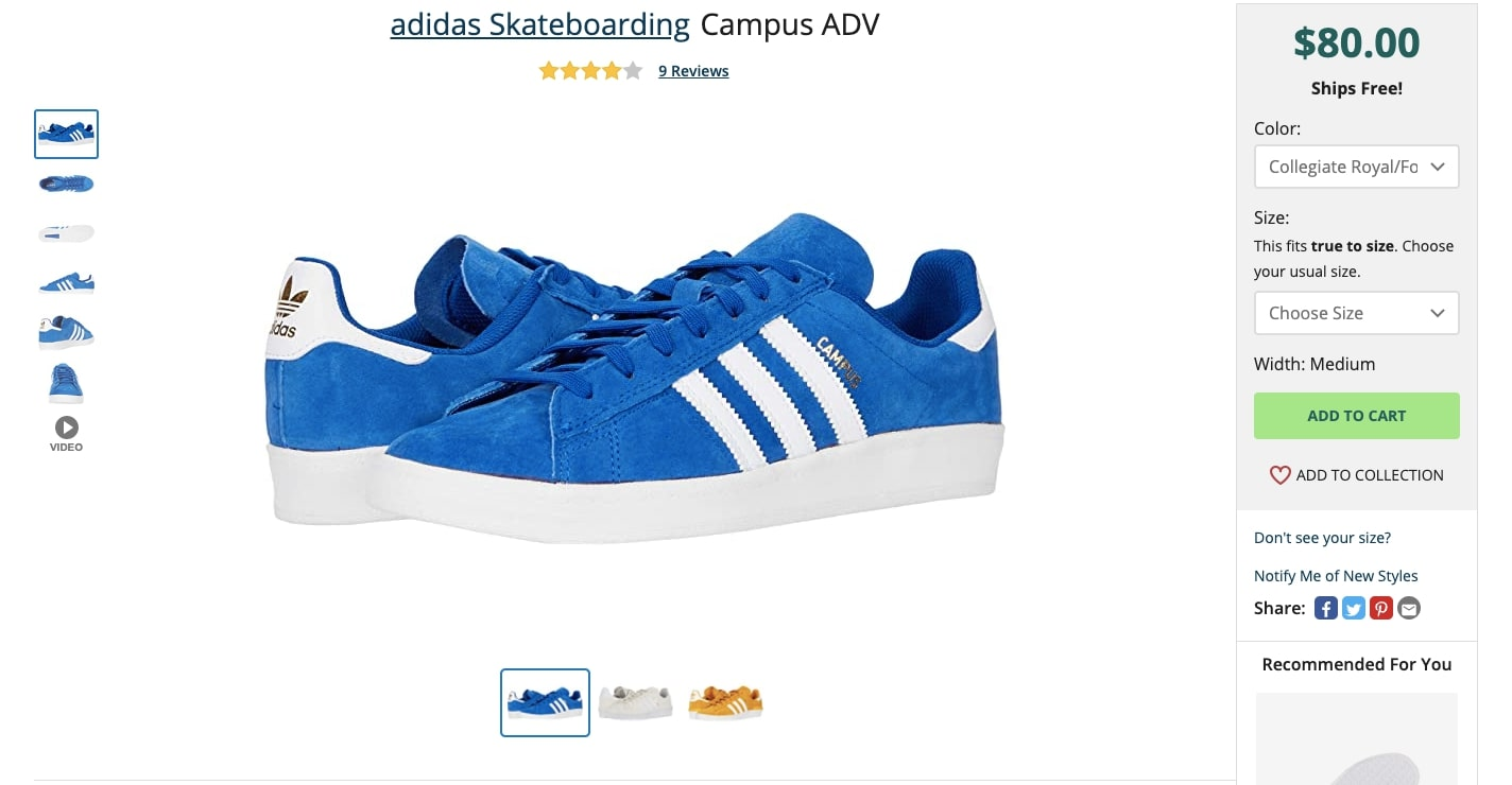 zappos product page