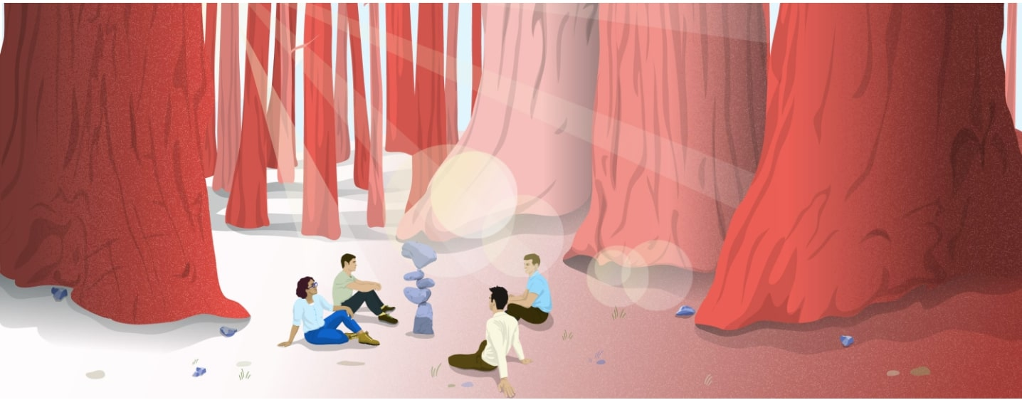 illustration of people in a forest campfire