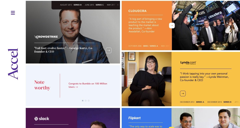 screenshot of Accel's website