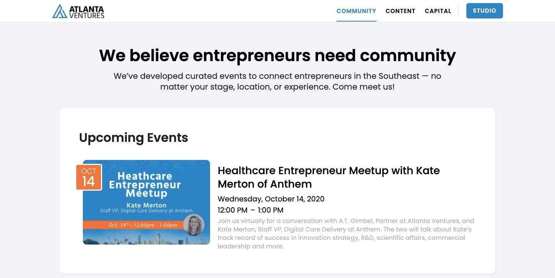 screenshot of Atlanta Ventures' website