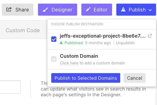 publish webflow website in product settings