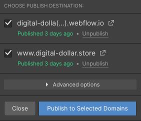 publishing a project in webflow
