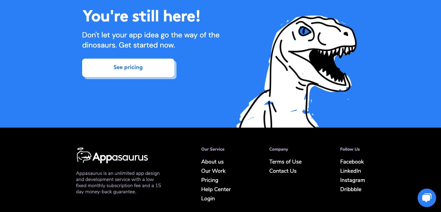 футер сайта appasaurus