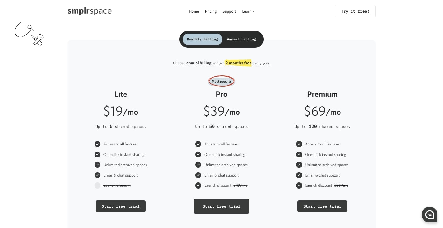 smplrspace pricing page