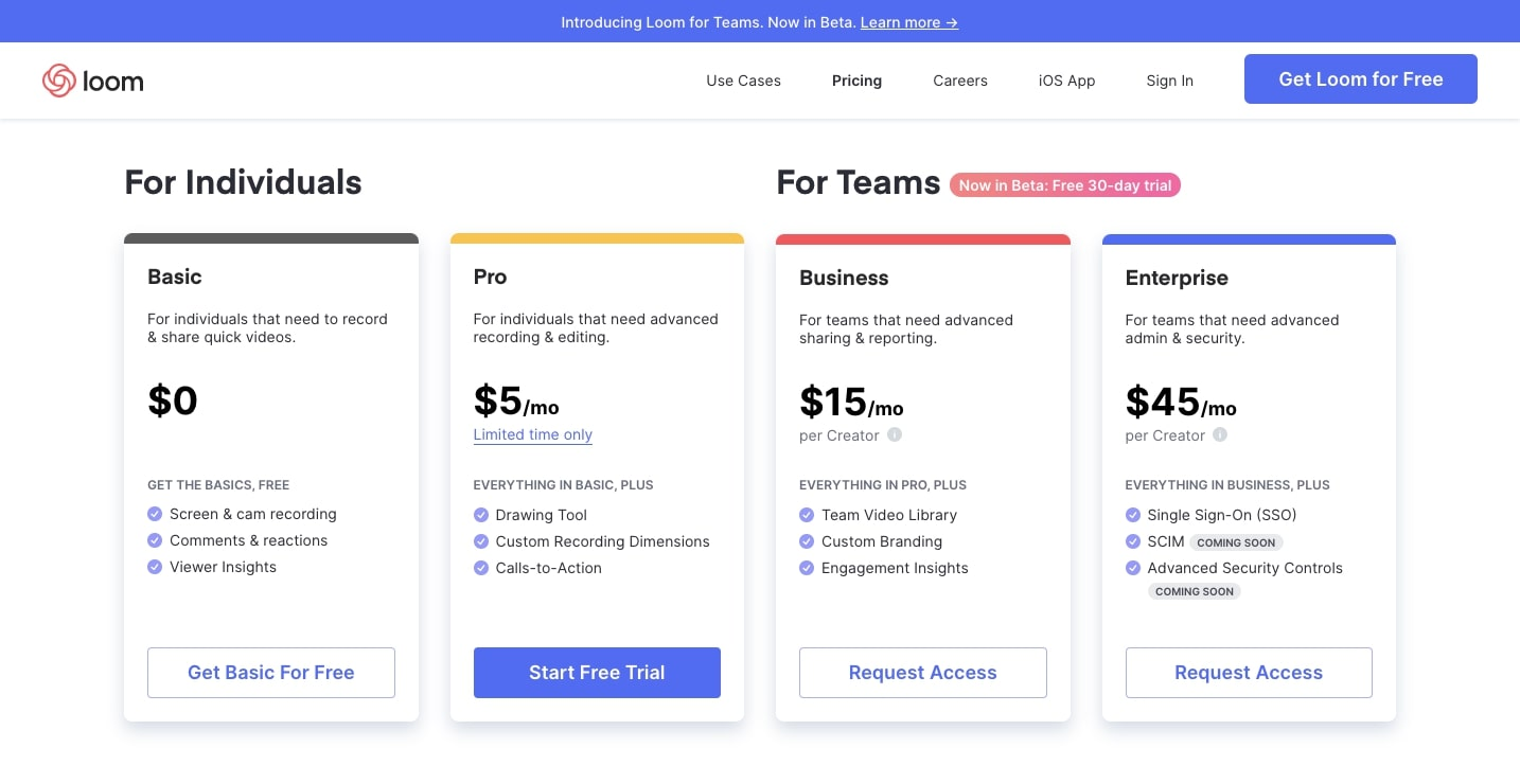loom pricing page