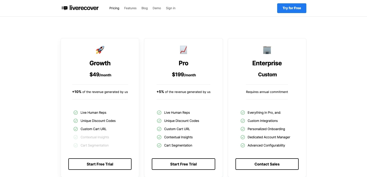 liverecover pricing page