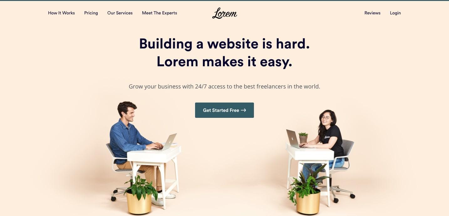 lorem hero section