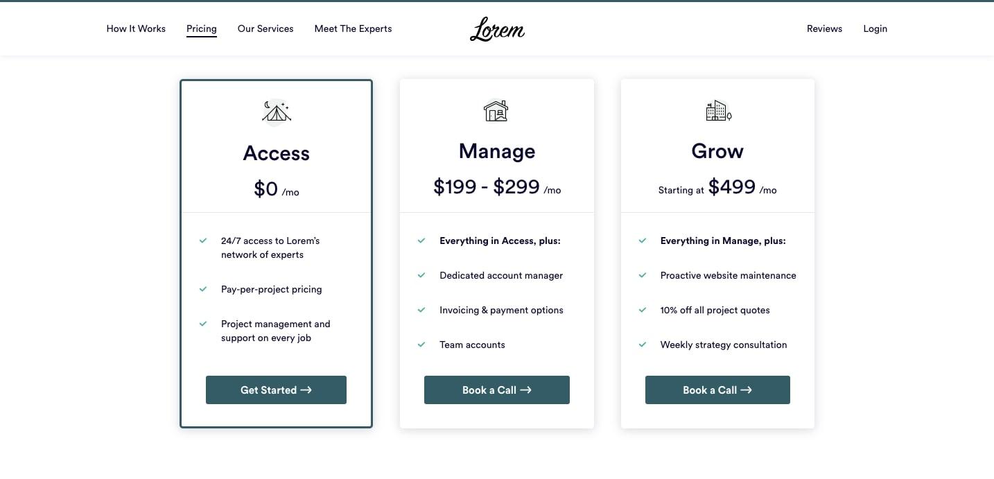 lorem pricing page