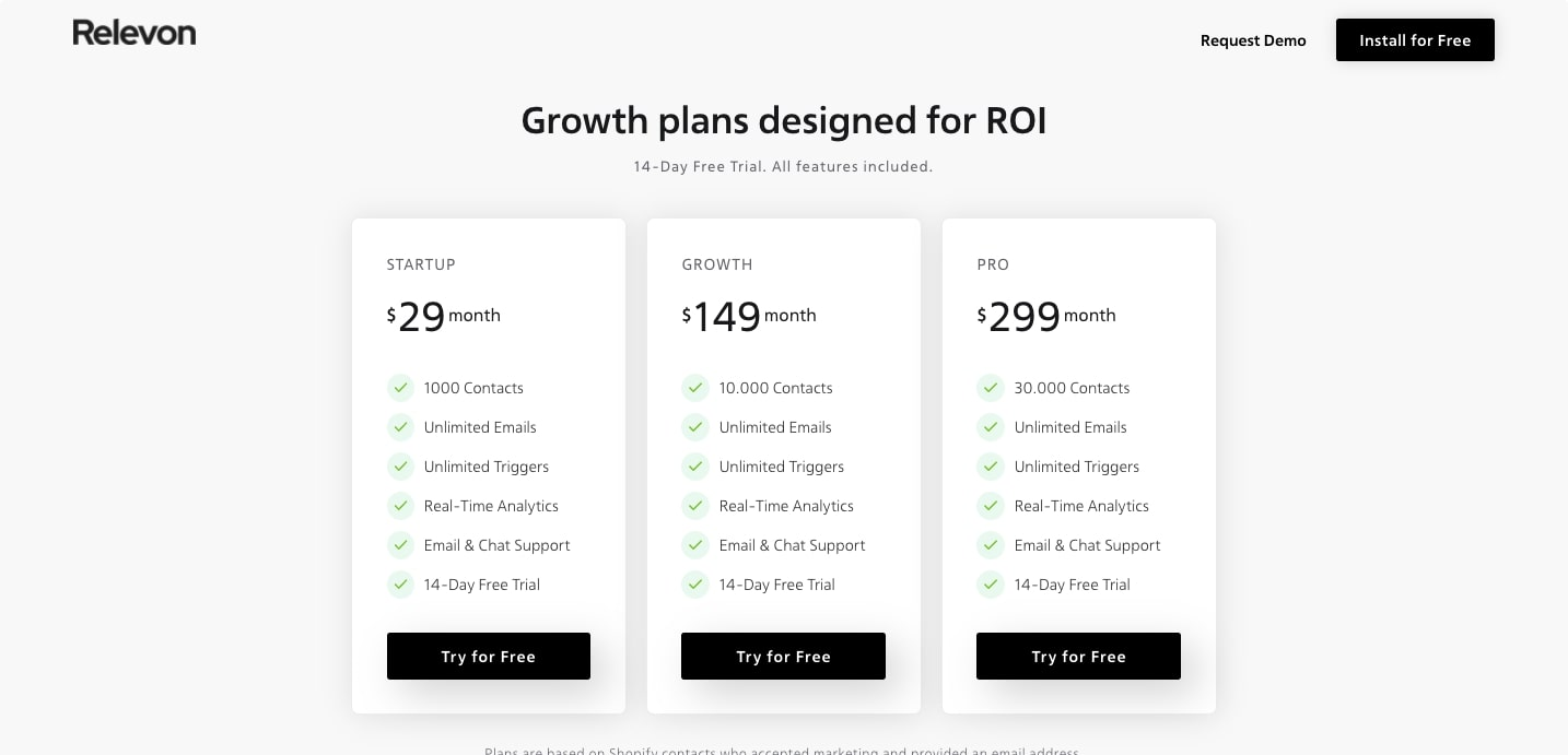 relevon pricing page