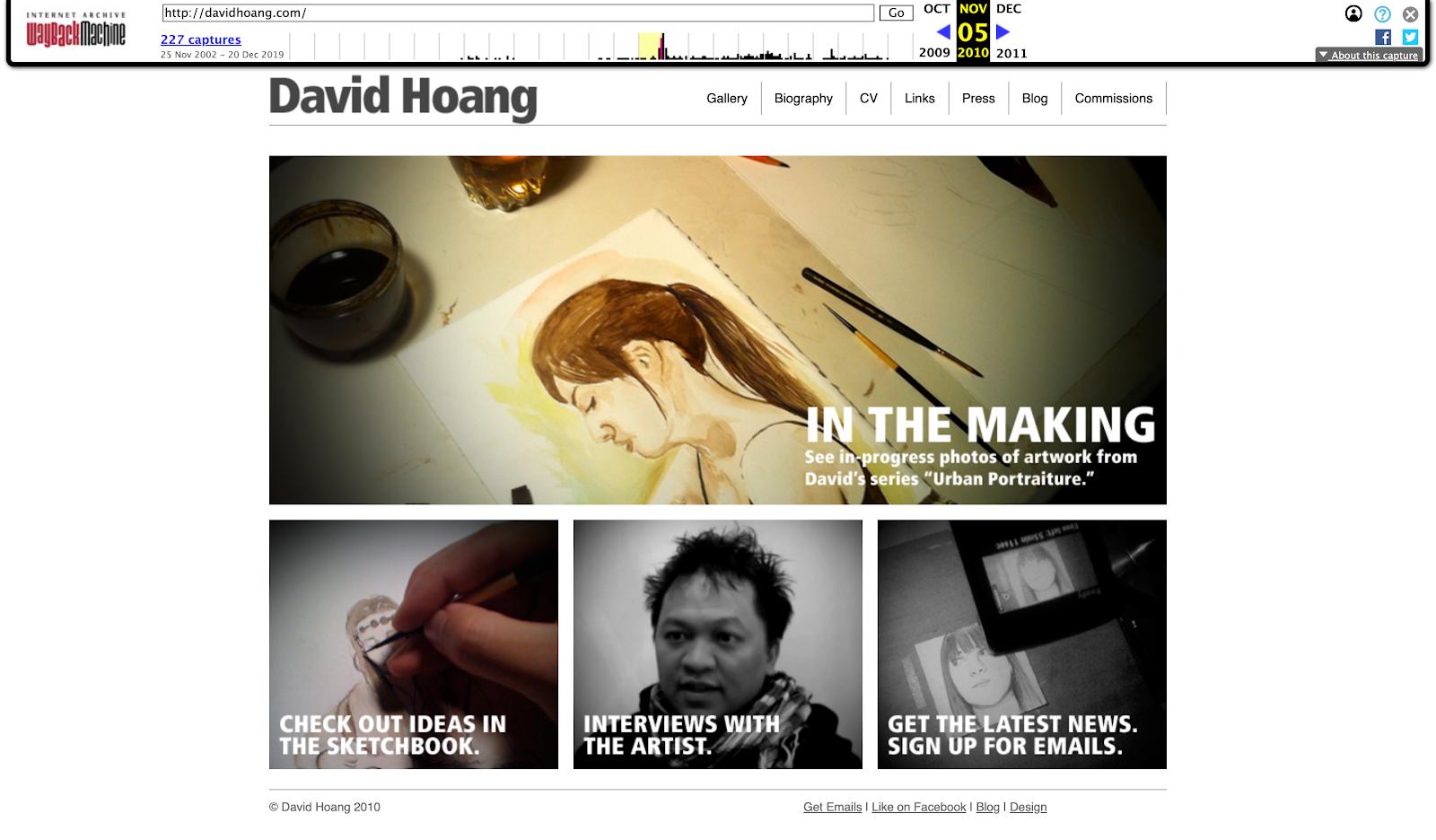 Davidhoang.com in 2010
