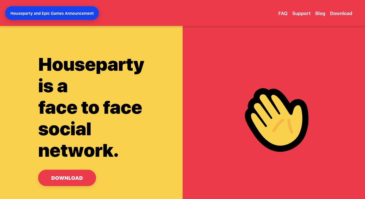 houseparty's landing page