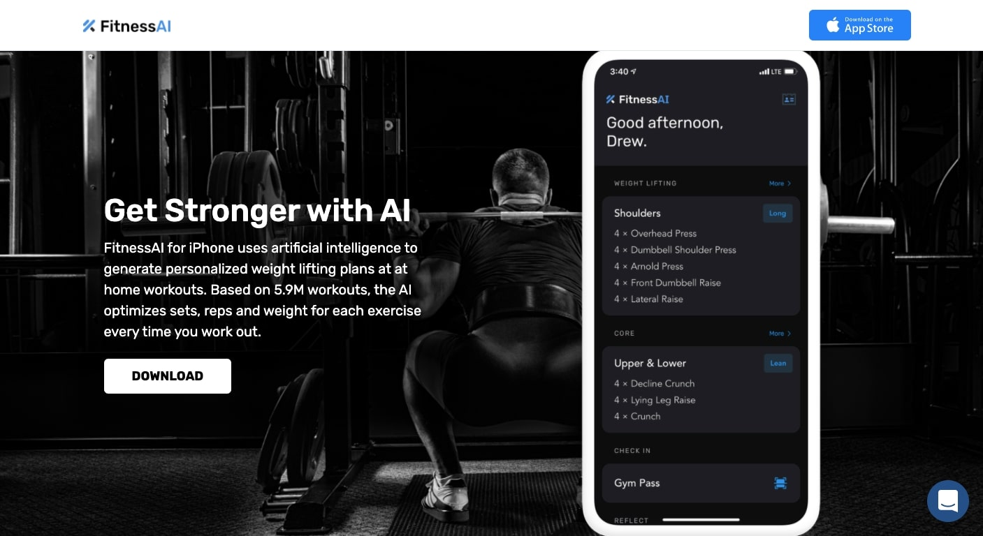 fitness ai's landing page