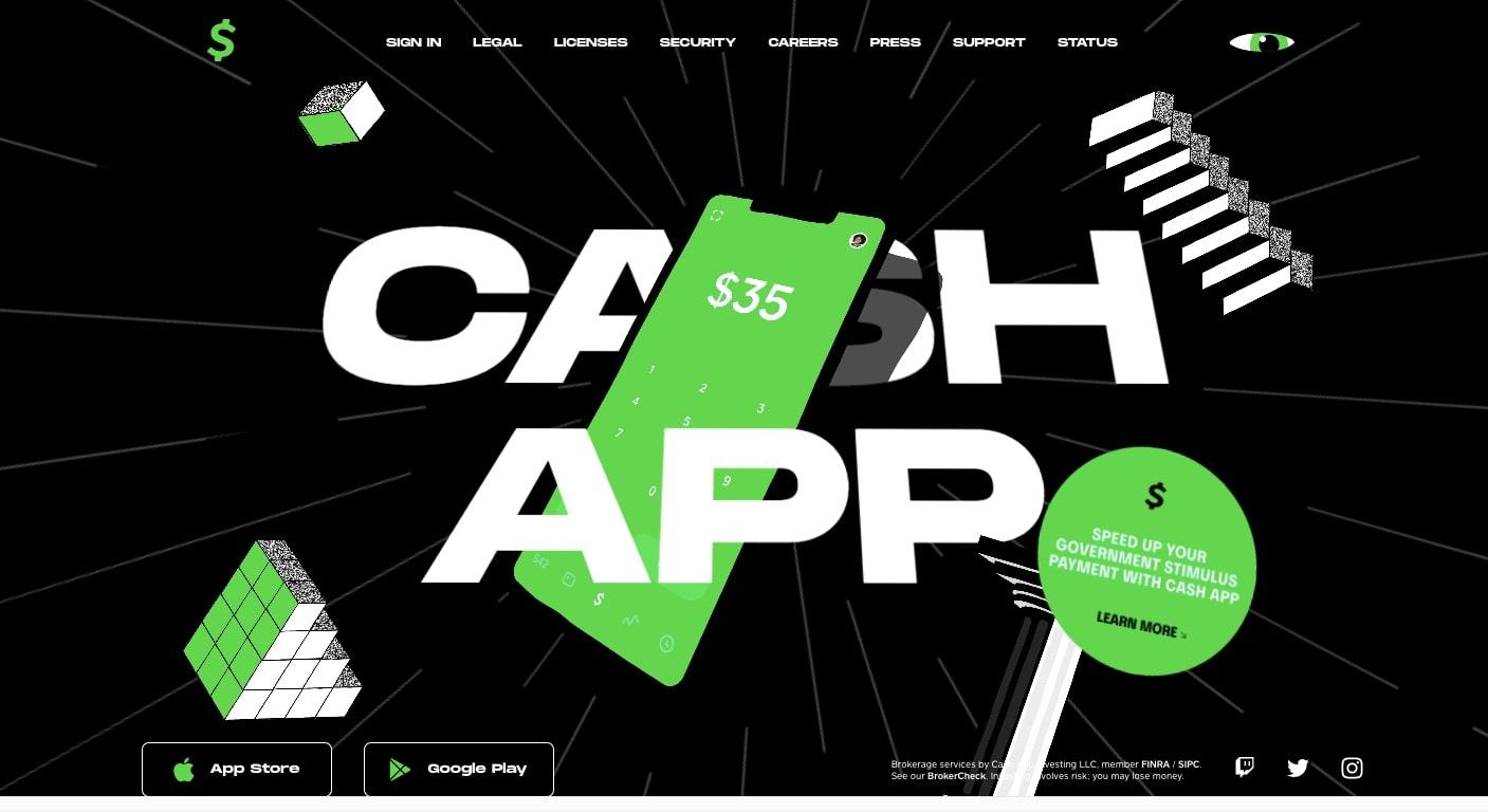 cash app's landing page