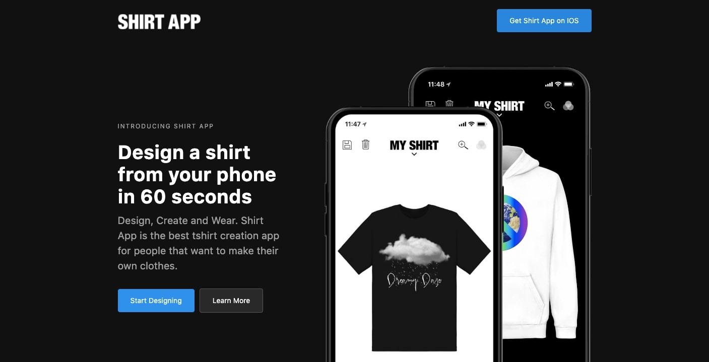 shirt app landing page