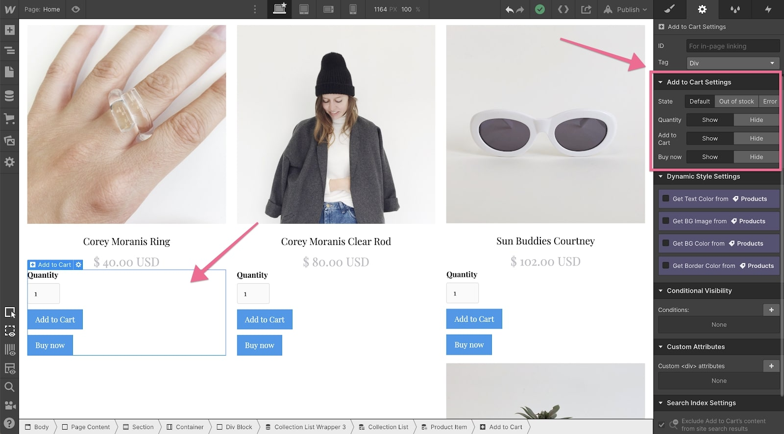 buy now button for Webflow Ecommerce