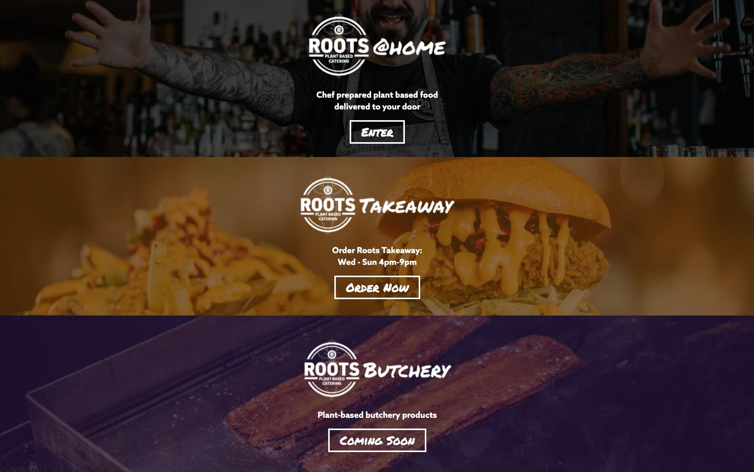 roots catering website