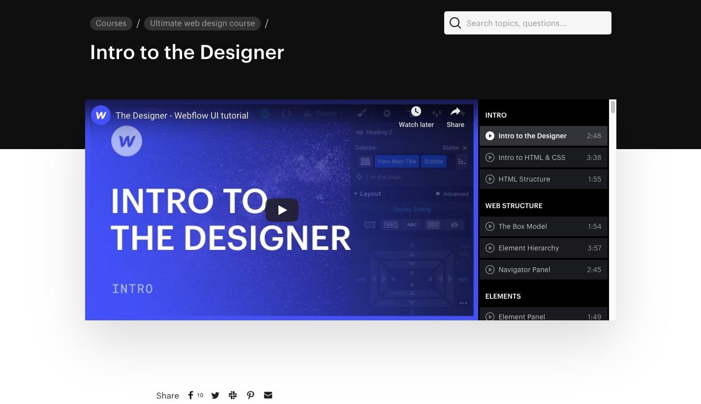 webflow university web design course