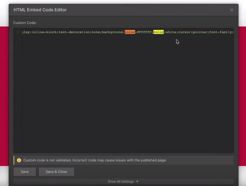 change typeform color in webflow