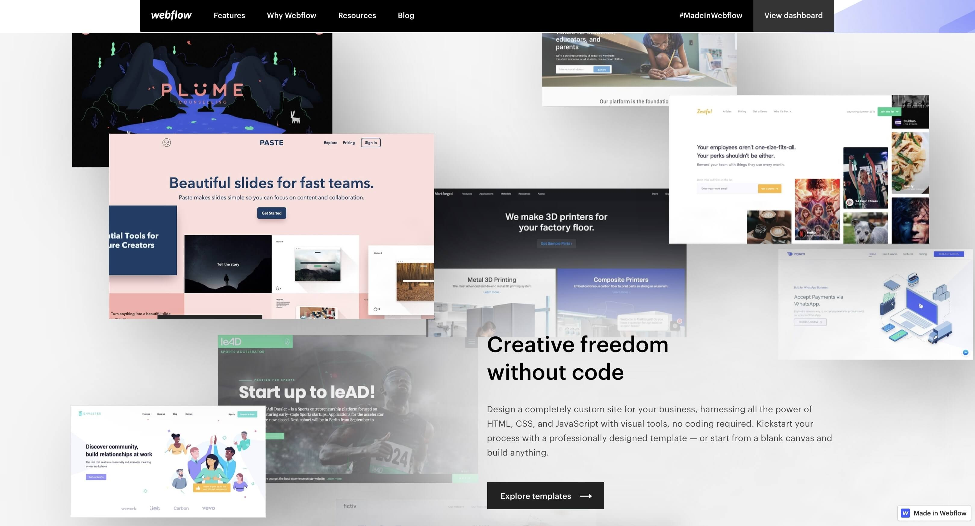 webflow business websites