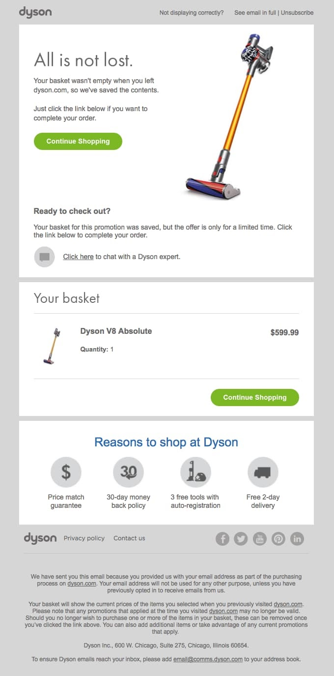 dyson abandoned cart email