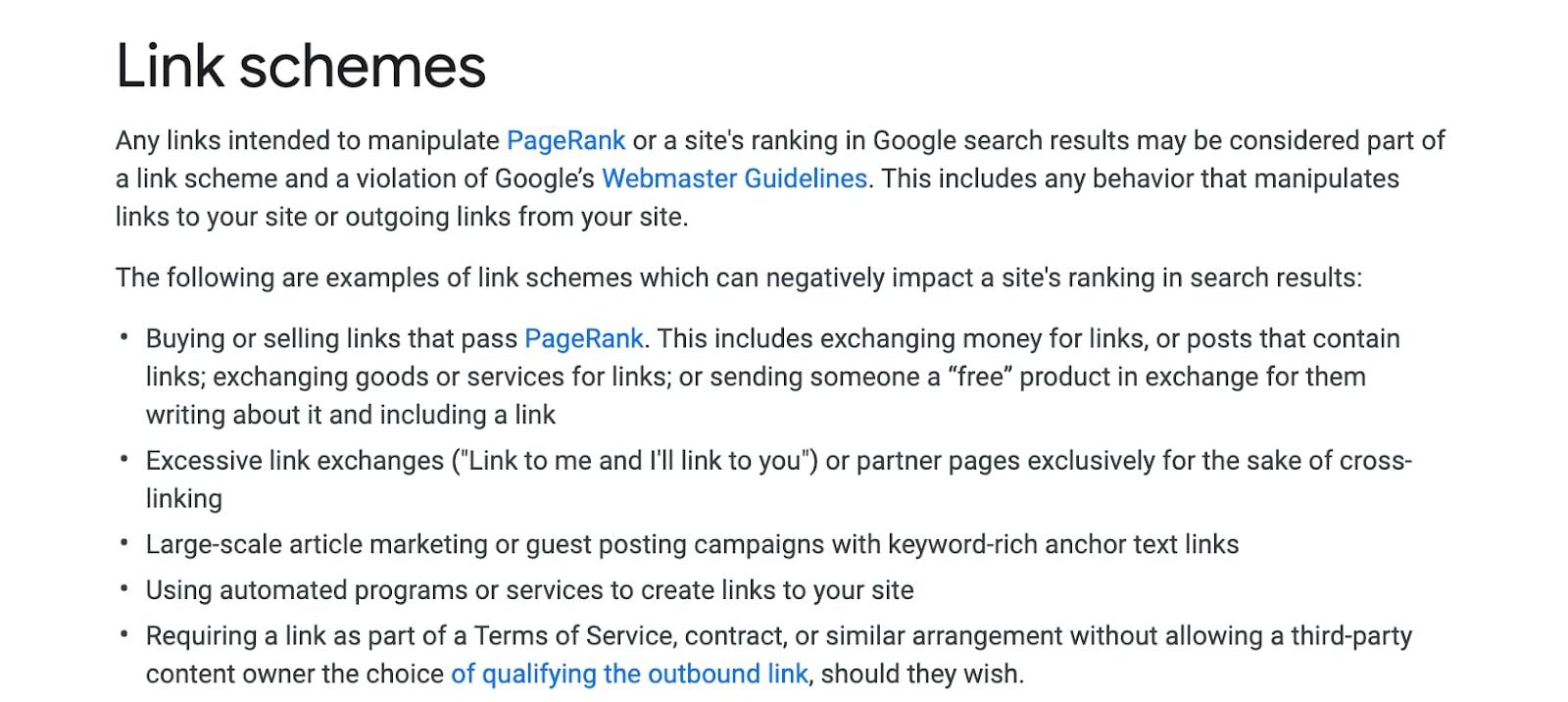 Google's link schemes