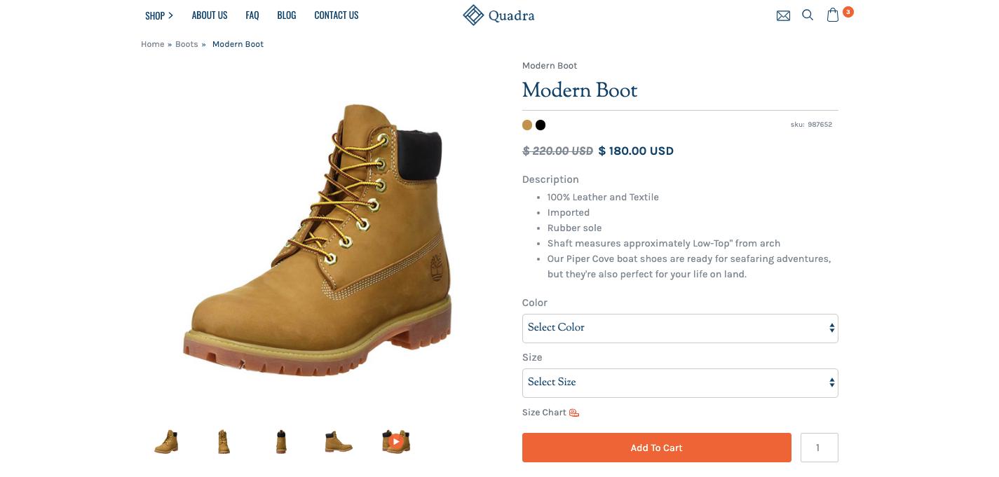quadra product page
