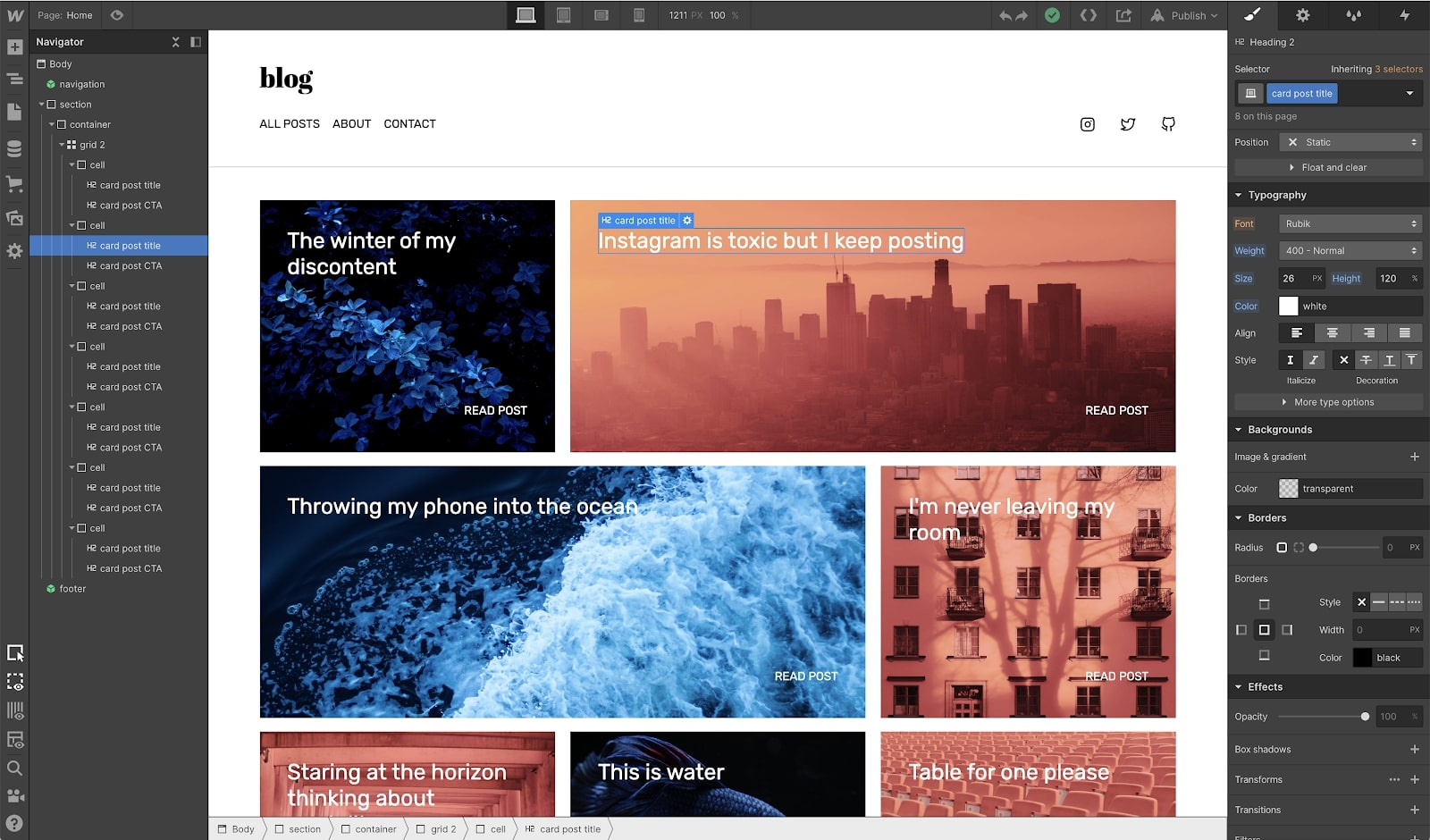 webfow's designer UI