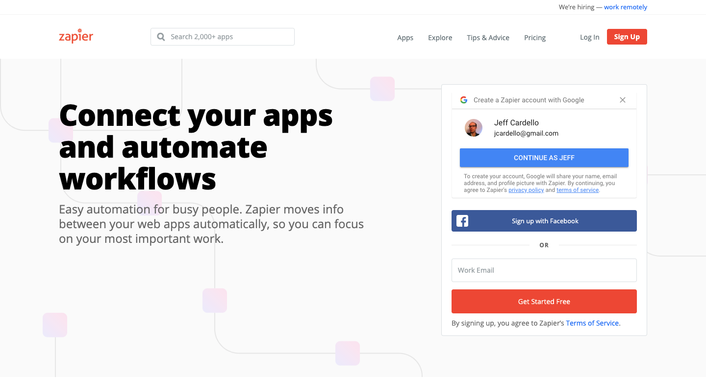 connect apps with zapier