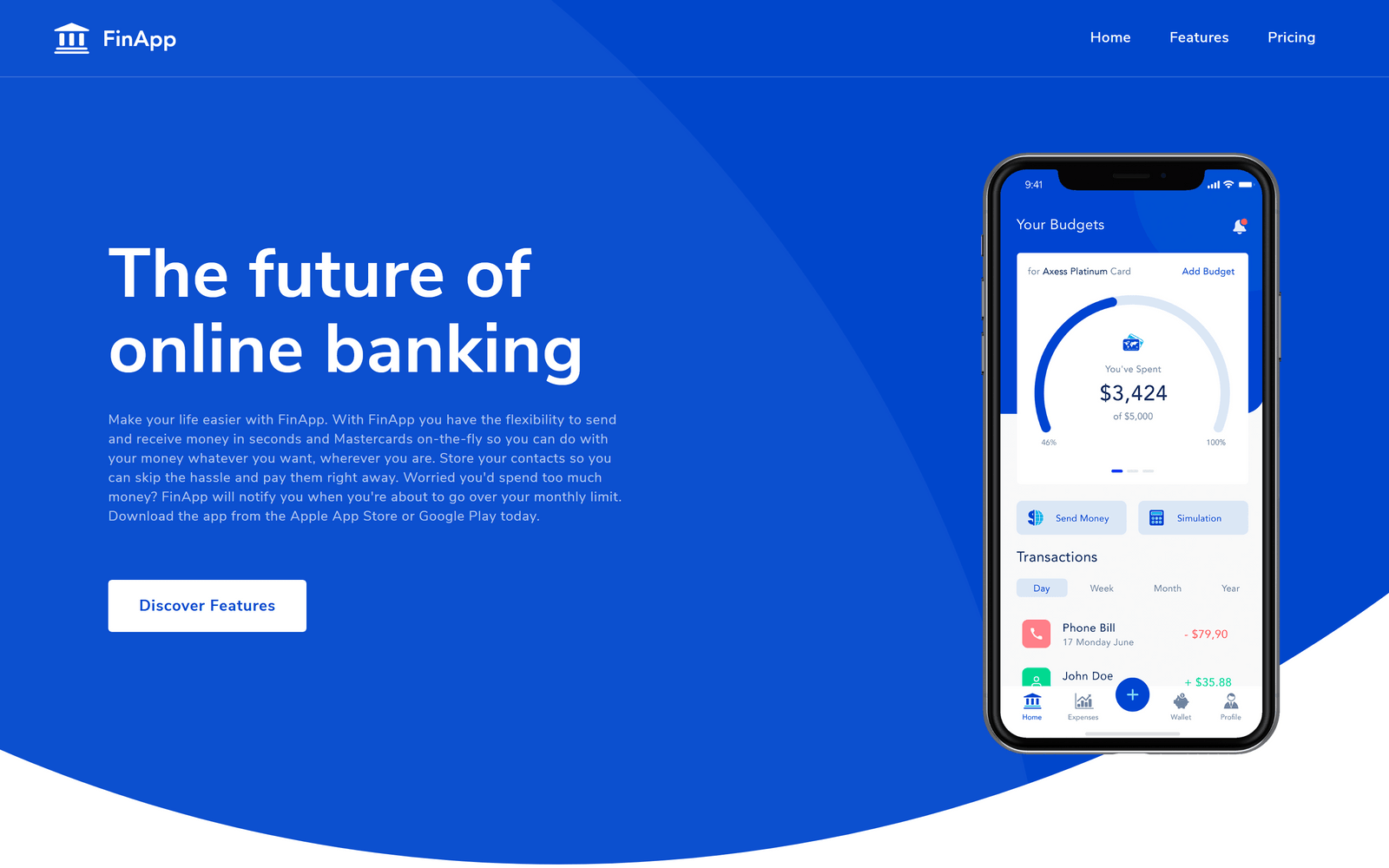 finapp template homepage