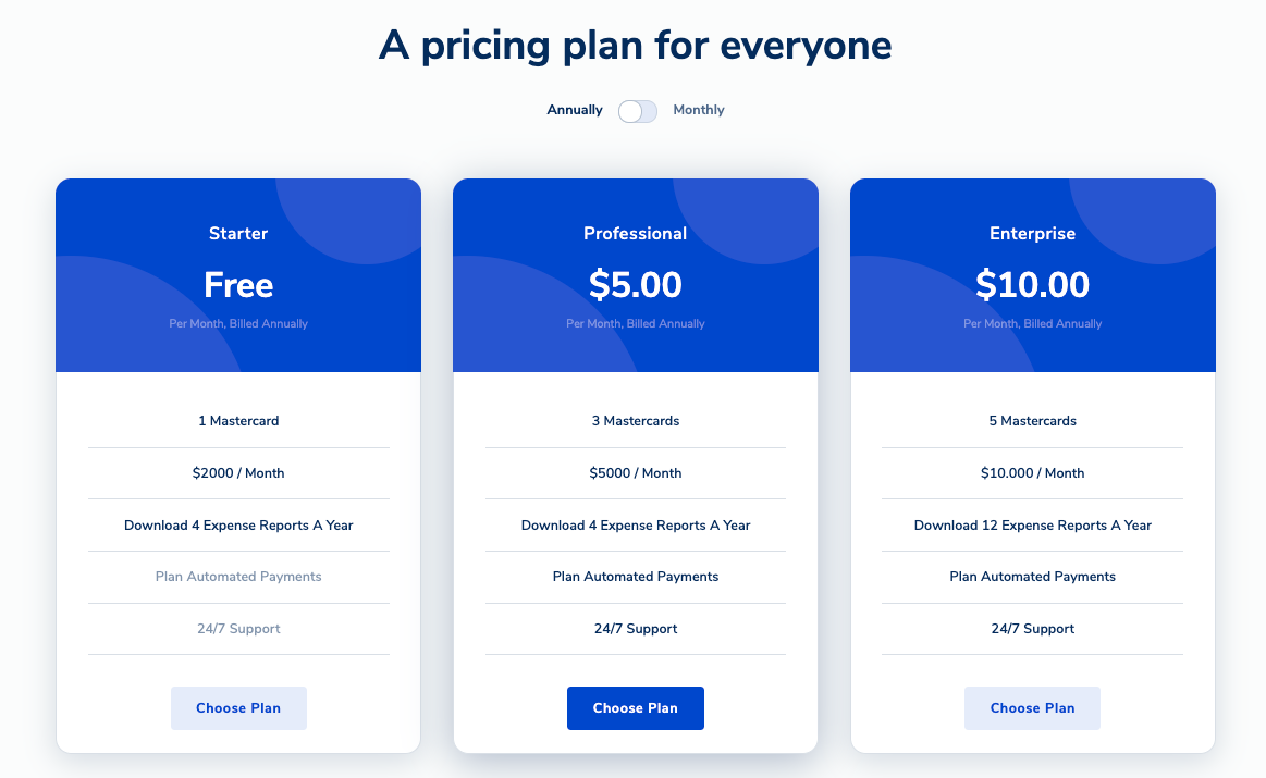 finapp template pricing section