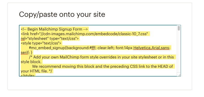 mailchimp html embed