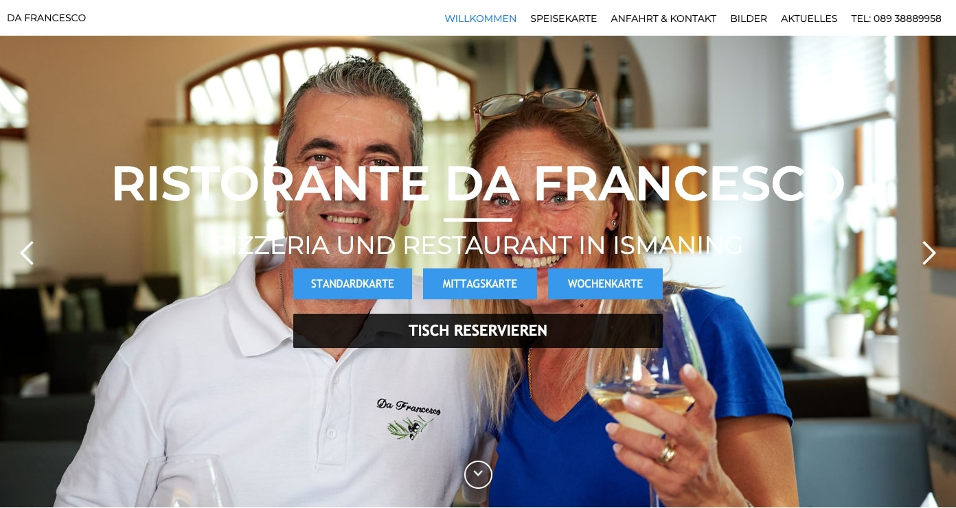 Da Francesco restaurant homepage