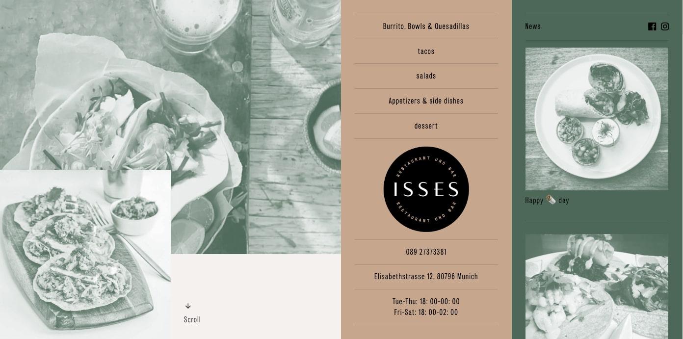 Isses restaurant homepage