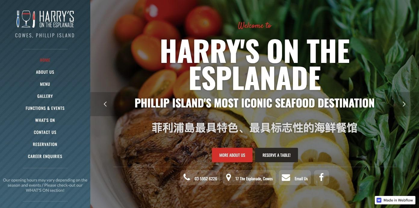 Harry's on the Esplanade restaurant website