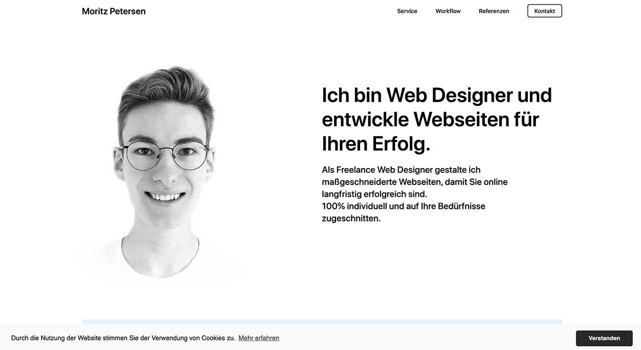 Moritz Petersen's portfolio site.