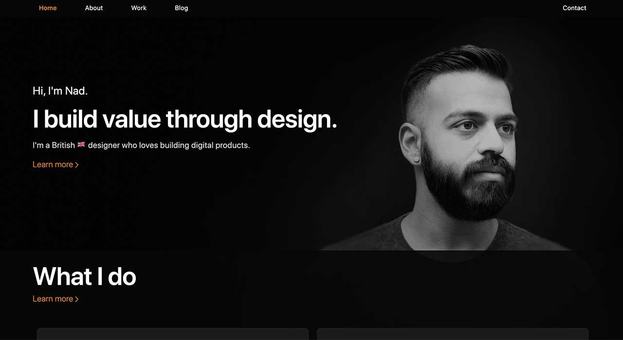 Nad Chishtie's portfolio site.