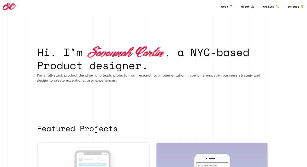 Savannah Carlin's portfolio site.