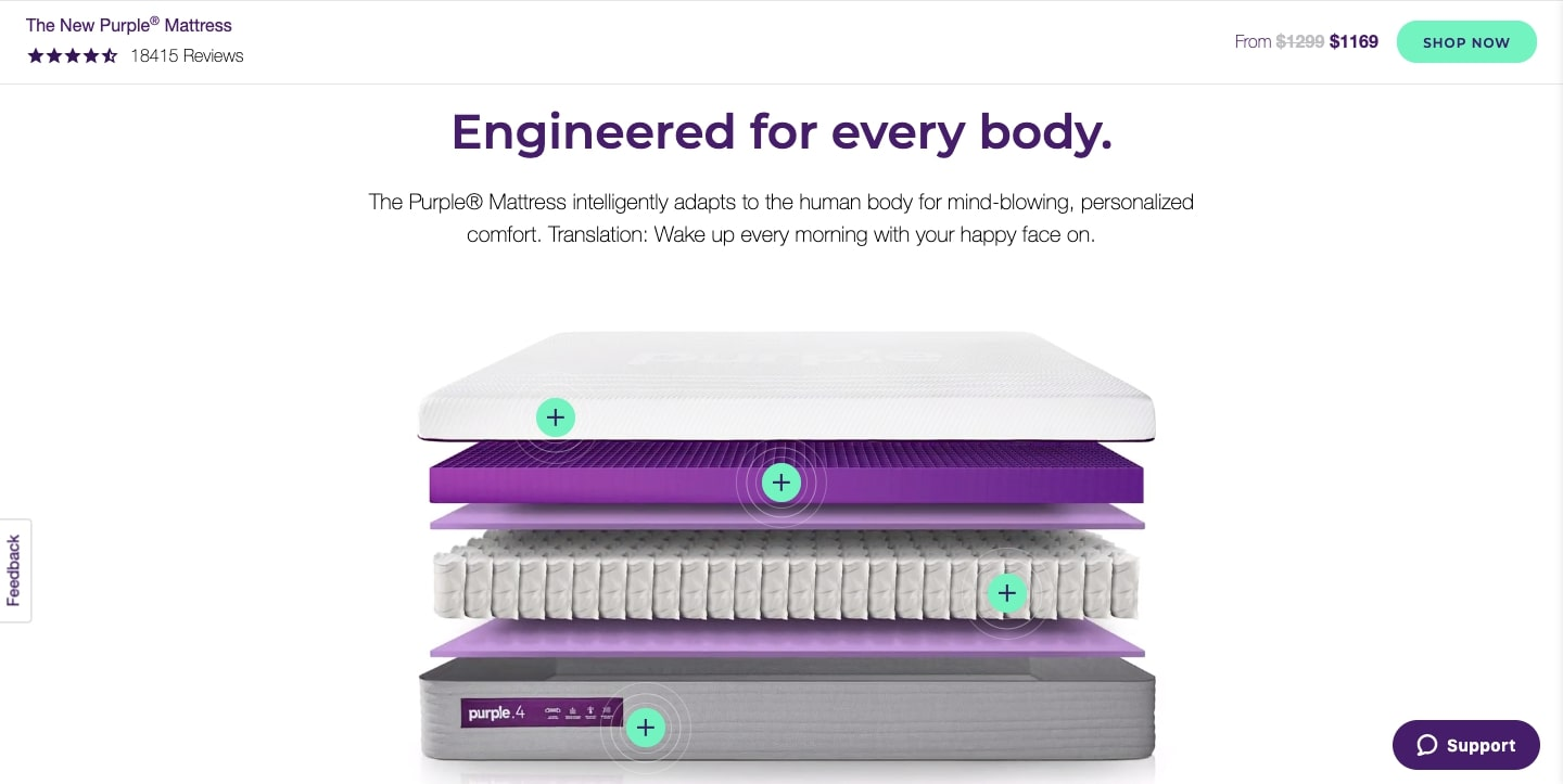 purple mattress website