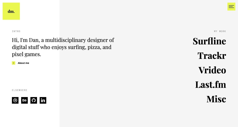 screenshot of Dan Machado's personal website