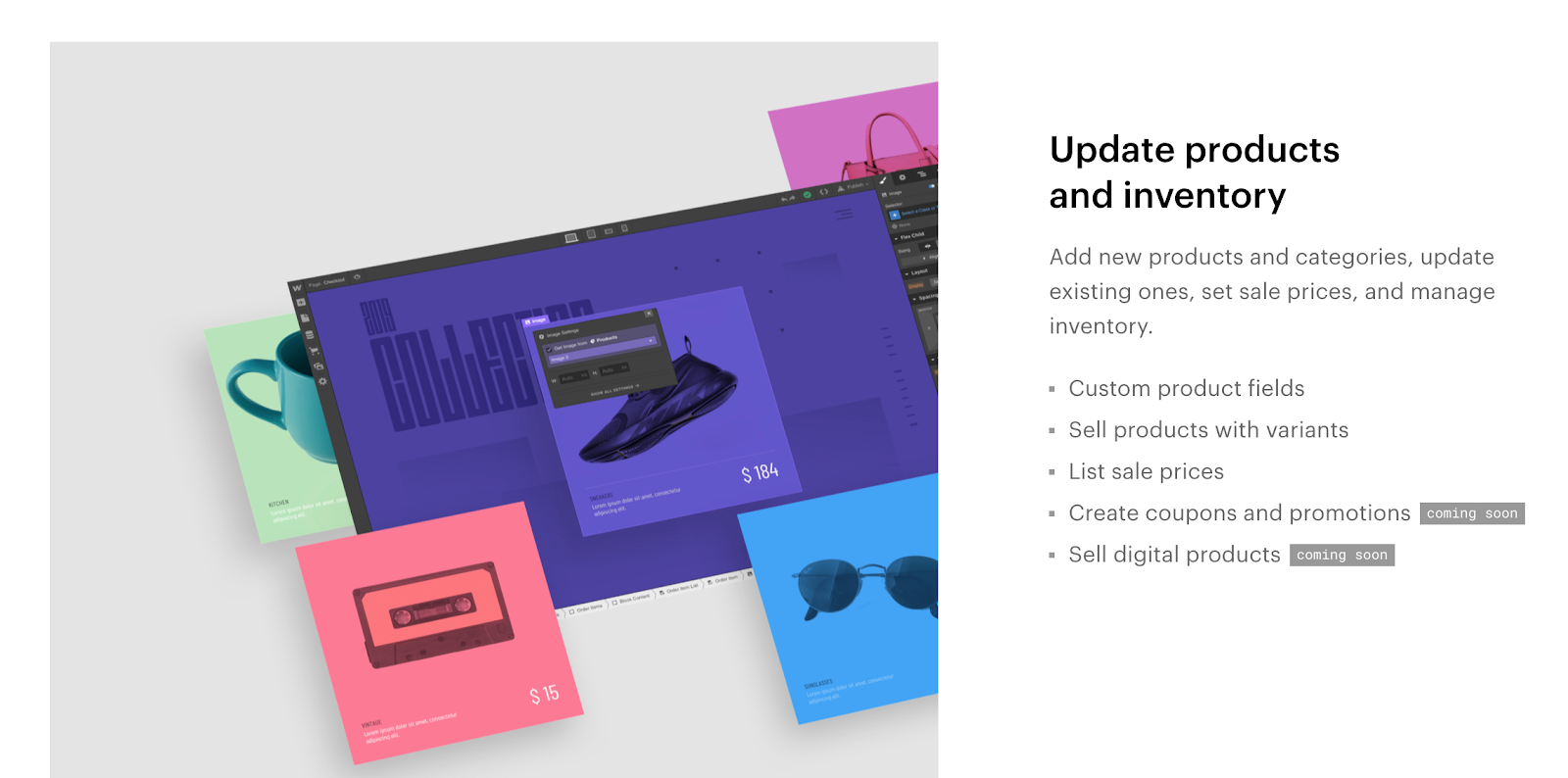 Webflow Ecommerce's inventory management tools, including custom product fields, product variants, and sale pricess