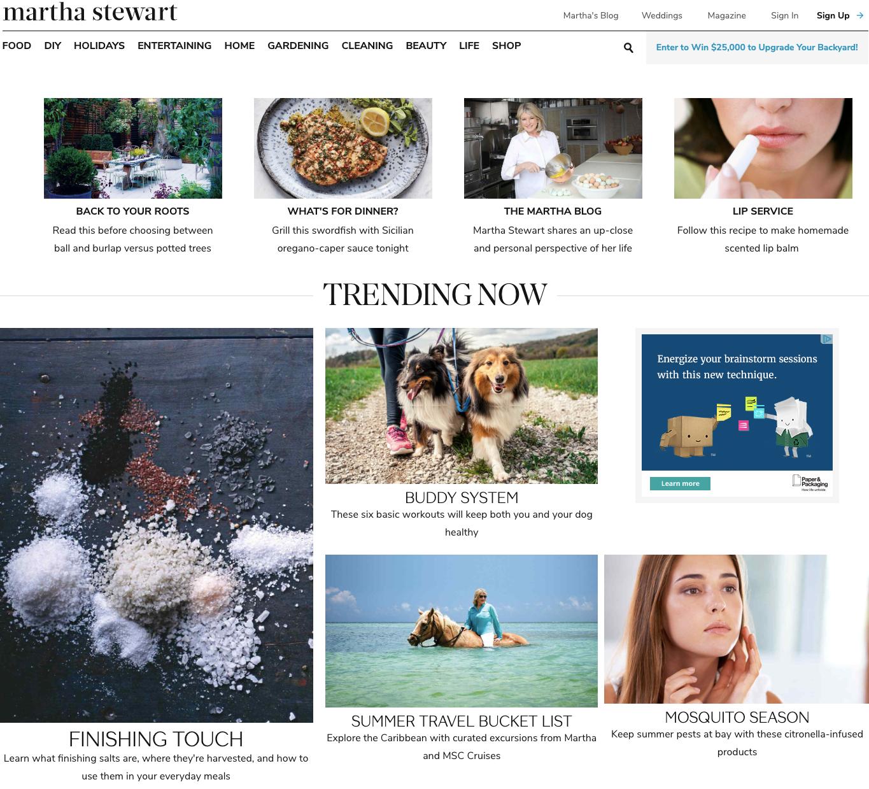 Martha Stewart homepage.
