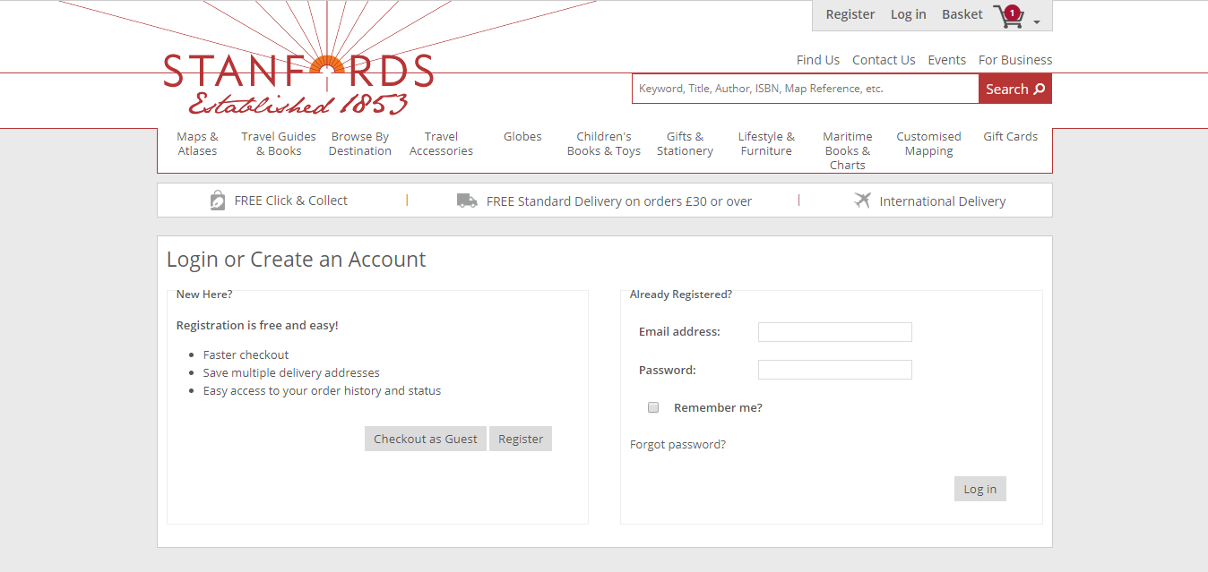 Stanfords checkout page.